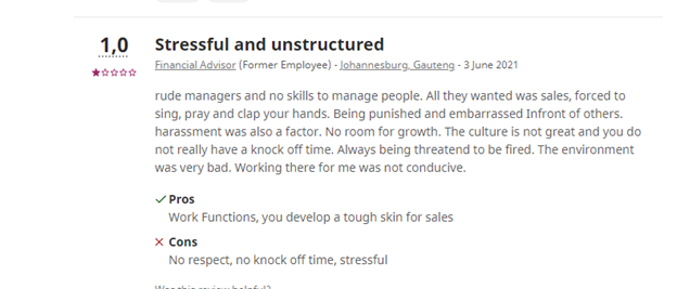 Employee comment on indeed.com regarding Old Mutual